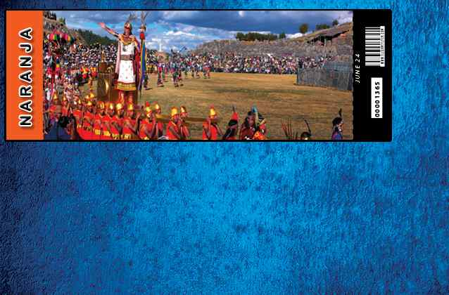 Boleto Inti Raymi 2021. Sección naranja