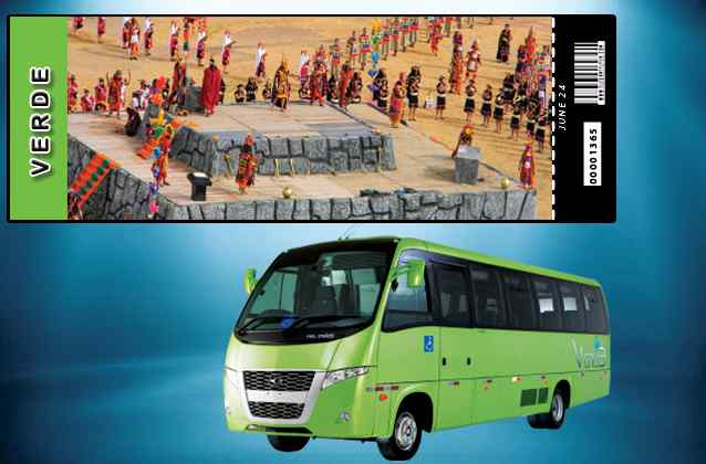 Inti Raymi 2021 ticket. Green section + tour bus