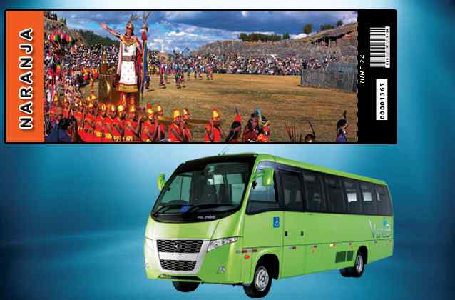 Inti Raymi 2021 ticket. Orange section + tour bus
