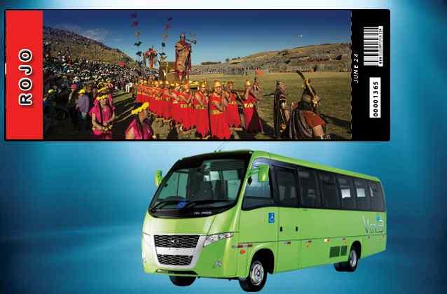 Boleto Inti Raymi 2021. Sección roja + bus turístico