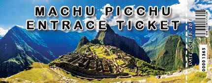 Billet officiel du Machu Picchu